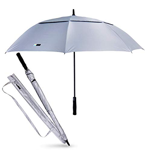 UVDAY Silver UV Protection Long Large Travel Golf Sun Umbrella UPF50+ with Wearable Shoulder Sleeve (Best Golf Umbrella For Sun Protection)