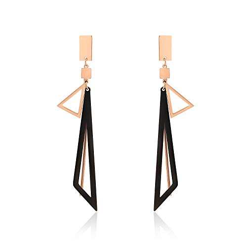 (UPRIMOR Stainless Titanium Steel Two-Tone Triangle Shaped Drop Dangle Earrings with Rectangle Stud, Rose-Gold Black, 84x13mm 3.3