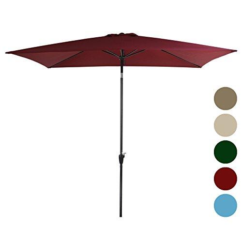 Foot Shade Patio Umbrella (Tourke 10 x 6.5ft Rectangular Patio Umbrella Outdoor Garden Umbrella with Crank and Tilt , 6 Steel Ribs (Wine))
