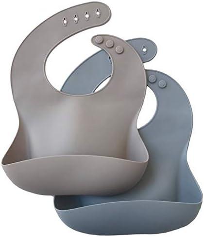 2020 colores 100/% silicona de grado alimenticio seguro Menta//crema. Baberos de silicona para beb/é juego de 2 baberos de alta calidad s/úper suaves y f/áciles de limpiar