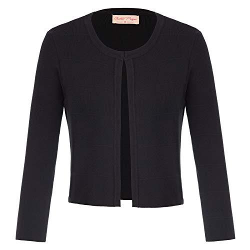 Belle Poque Women's Soft Cashmere Crew Neck Cardigans Sweaters Black Size XL BP773-1