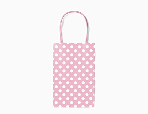 (12CT Small Light Pink Polka DOT Biodegradable, Food Safe Ink & Paper, Premium Quality Paper (Sturdy & Thicker), Kraft Bag with Colored Sturdy Handle (Small, P.Light Pink))