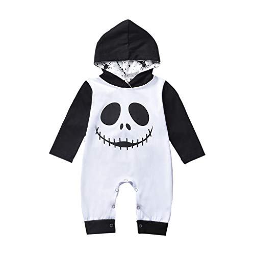 Aunimeifly Boys Jumpsuit Halloween Cartoon Skull Print Costume Infant Hooded Romper Baby Clothes(70,Black)