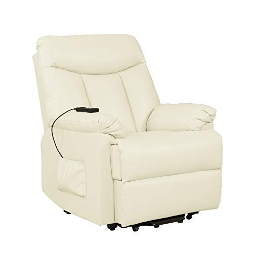 (Domesis Renu Leather Wall Hugger Power Lift Chair Recliner, Cream Renu Leather)