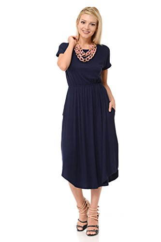 iconic luxe Women#039s Solid Short Sleeve Flare Midi Dress with Pockets Large Navy