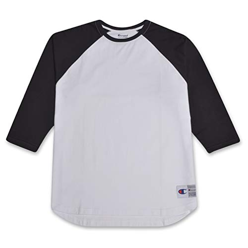 - Champion Mens Big and Tall Raglan Baseball T Shirt White/Black 3X