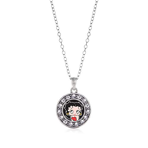 Inspired Silver - Betty Boop Charm Necklace for Women - Silver Circle Charm 18 Inch Necklace with Cubic Zirconia Jewelry (Pendant Boop Betty)