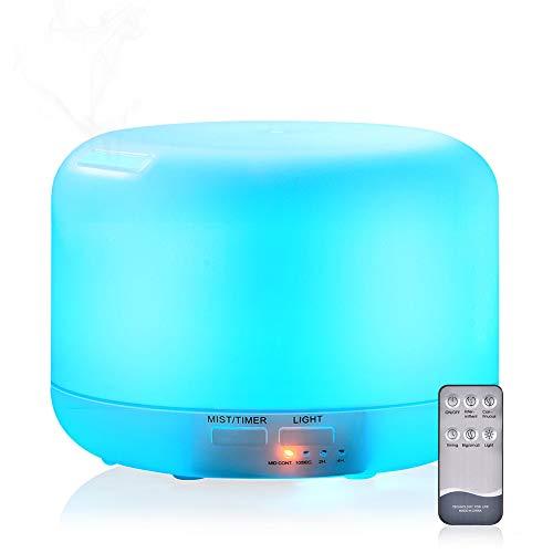 Humidificador De Aroma Ultrasónico, Difusor De Aceite De Vapor Frío De 300 Ml, Led De 7 Colores Y 4 Configuraciones De...