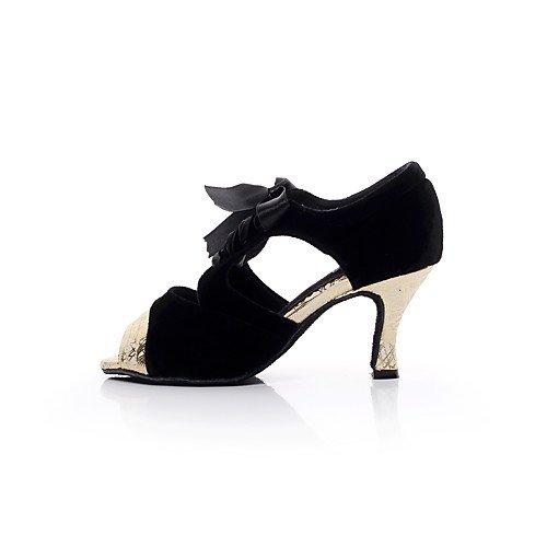 Mujer Baile Profesional Swing Zapatos T Q Jazz Plata Sandalias Indoor Practice de Salsa Latinas Plata Suede Flared Heel T Performance Tango de Oro xSqYIx