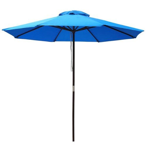 9-ft Patio Furniture Market Polyester Umbrella Blue w/ 94 1/2 In. Solid Wooden Pole 8 Ribs UV Block Durable for Home Outdoor Lawn Garden Yard Beach Stall Stand Café