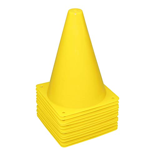 REEHUT 7.5 Inch Plastic Sport Training Traffic Cone (Set of 12, Yellow) ()