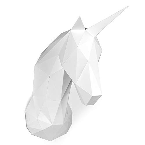 Paperraz-3D-Unicorn-Head-Animal-Building-Trophy-Puzzle-Low-Poly-PaperCraft-Kit-for-Adults-Teens-NO-Scissors-Needed
