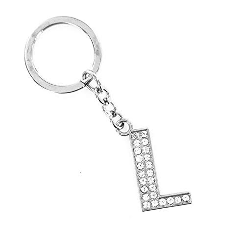 Letter Bling Crystal Sparkly Alphabet Keyring Initial Letter Key Chain Keychain (Color - L)