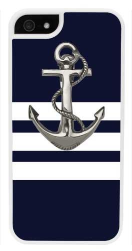 iPhone 6 Plus Case, CellPowerCasesTM Navy Stripes Anchor [Flex2 Series] -iPhone 6 Plus (5.5) White Case [iPhone 6 (5.5) V2 White]
