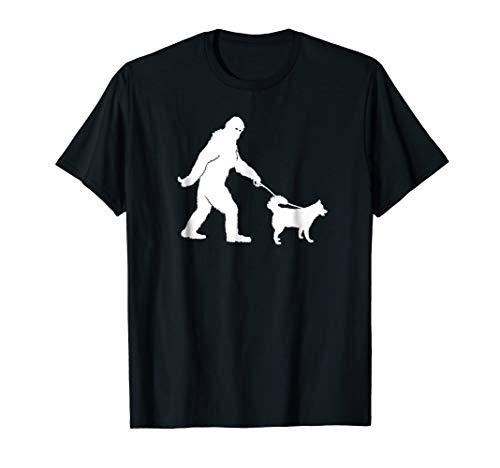 - Bigfoot Sasquatch Walking Husky Dog Lovers Gift T-shirt