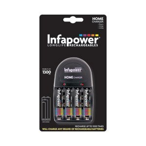 Infapower- Home Battery Charger With 4 X Aa 1300mah Rechargeable Batteries by Infapower