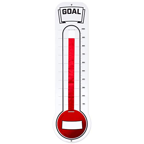 Fundraising Thermometer Chart Goal Tracker | Dry Erase Goal Setting Wall Mounted Thermometer | Giant Sales Goal Board with Pull-Through Ribbon Progress Tracker (46