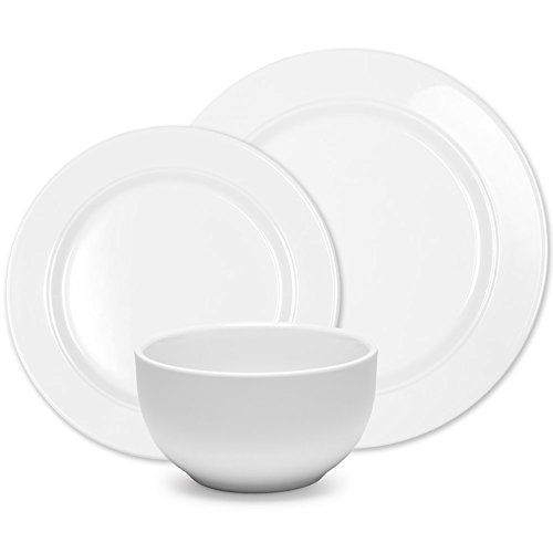 Melamine Round Plates - Q Squared Diamond White Collection Round 12-Piece Professional Grade, BPA-Free, Shatterproof, Melamine Dinnerware Set, Many Collection Options