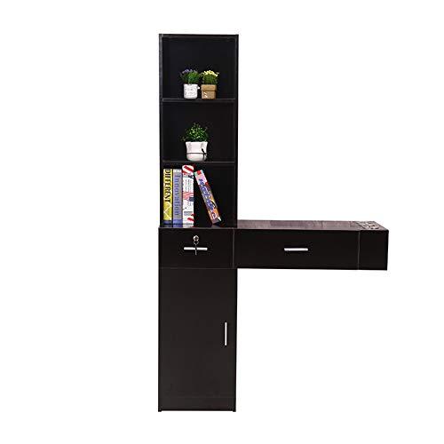 Mefeir Wall Mount Hair Styling Station, Beauty Salon Spa Furniture Set, Hair Salon Equipment, 2 Drawers+1Cabinet+3 Shelves (Black)