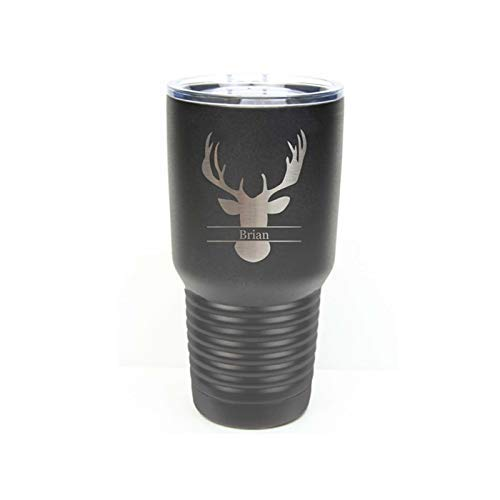 Groomsman Tumbler made of Stainless Steel with a Clear Lid including Choices of 12, 20 or 30 ounce, Color, Design, Name, Title, Date, Font, Straw and Spill Proof Slide Lid Personalized Custom Engraved ()
