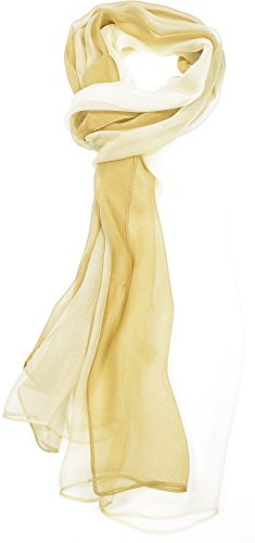 Hand By Hand Aprileo Two-Tone Silk Blend Scarf Ombre Oblong Scarf Lightweight [02 Beige](One Size)