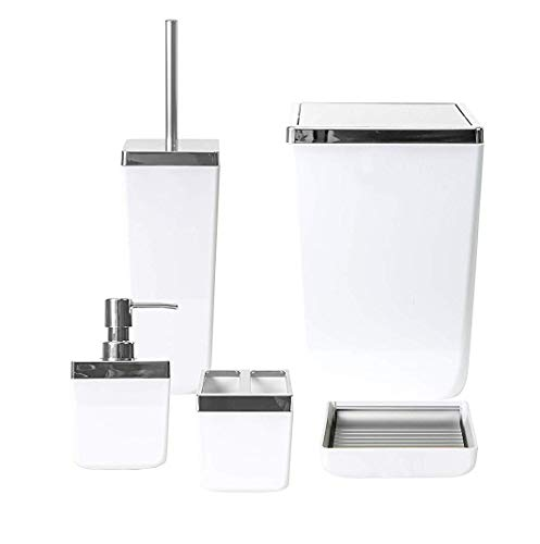 HOLDN' STORAGE Bathroom Accessories Set - 5 Piece, White Elegant and Highly Durable Decor, Bath & Home Accessory Set, Soap Dish, Soap Dispenser, Toilet Brush, Toothbrush Holder & Trash Can (Accessories White Set Bathroom)