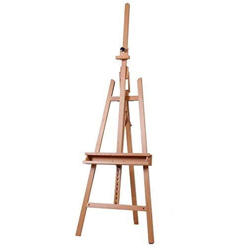 ATWORTH Artist Large Studio Easel Adjustable Beech Wood Easel Tilting Floor Easel with Brush Holder, Holds Canvas up to 48
