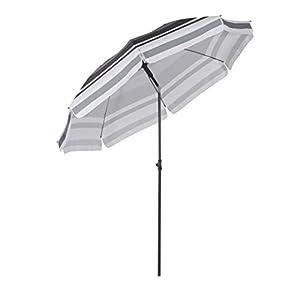 Sekey® sombrilla Parasol para terraza jardín Playa Piscina Patio diámetro 217 cm Protector Solar UV25+ Rayas Blancas Grises