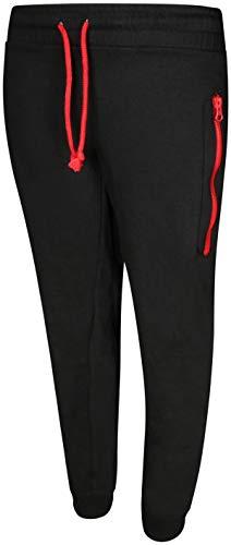 (Quad Seven Boy\'s Fleece Jogger Active Pants, Black/Red Zipper, Size 16/18')