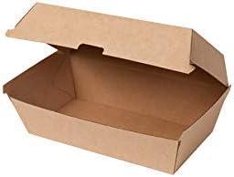 BIOZOYG Caja de cartón Kraft Take Away 50 Piezas I Cajas de Comida robustas con Tapa