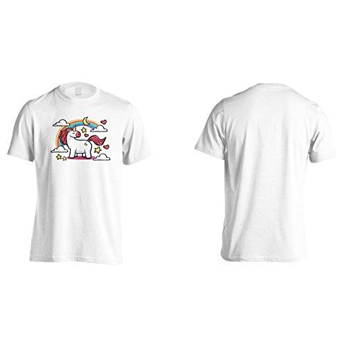Neuer Regenbogen Niedliches Einhorn Herren T-Shirt m186m