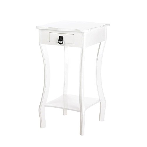 - Corner Accent Table, Bedroom Unique Scalloped White Accent Tables with Drawers