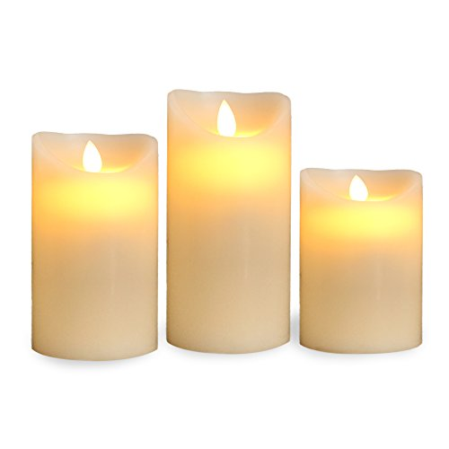 Gideon Flameless LED Candle Set of 3 Sizes 4 inch, 5 inch, 6 inch Made with Real Wax and Dripping Style Design with Realistic Flickering Candle Motion Includes Remote Control - Vanilla Scented