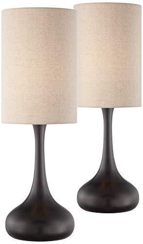 Modern Table Lamps Set of 2 Espresso Bronze Metal Droplet Cylinder Drum Shade for Living Room Family Bedroom Bedside - 360 Lighting