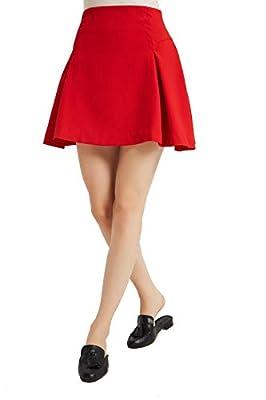 Tronjori Womens A Line Short Pleated Skirt