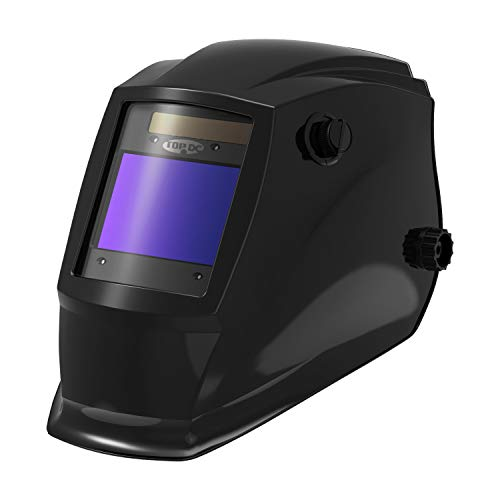 "TOPDC Solar Power Auto Darkening Welding Helmet with Optical Class 1/1/1/2, Viewing Area 3.93""X2.63"", Shade Range 4/5-9/9-13 with Grinding Feature for TIG MIG MMA Plasma"
