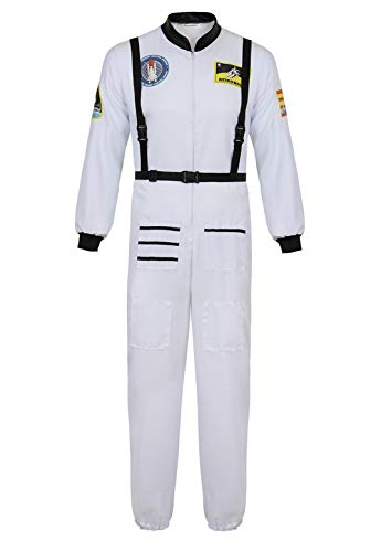 Men's Adult Astronaut Spaceman Costume Coverall Pilot Air Force Flight Jumpsuit Halloween Dress Up Party White-XL ()