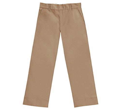 Boys' Flat Front Slim Pant-KHAKI, 10 Slim Boys Plain Front Stain