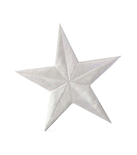 #2197LW White Star Embroidery Iron On Applique Patch by ETDesign (Size 3