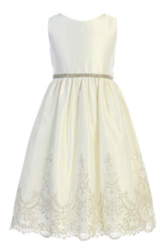 Sweet Kids Satin and Metallic Embroidered Scalloped Lace with V-Back, 2, ()