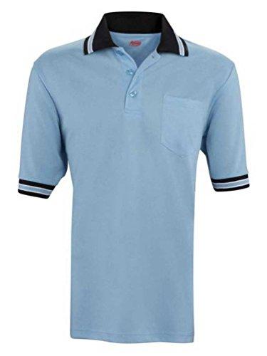 Adams USA Short Sleeve Baseball Umpire Shirt - Sized for Chest Protector, Powder Blue/Black, Large ()