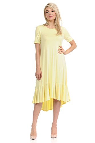 Pastel by Vivienne Women's Short Sleeve High-Low Mid Dress with Ruffle Detail Medium Banana
