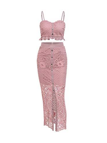 (D Jill Women's 2 Piece Lace Outfit Dress Button Down Cami Crop Top Long Skirt Set Pink)
