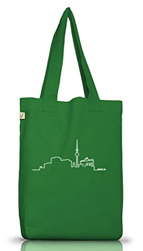 Shirtstreet24 Skyline Berlin - Bolso de tela de algodón para mujer verde - Moss Green
