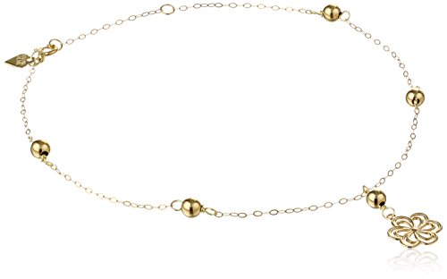 14k Yellow Gold Cable Anklet with Flower and Beads, 10″
