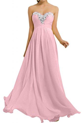 Toskana novia Sweetheart Forma de Corazón gasa Vestidos de novia Vestidos de noche largo Fiesta en Ball Rosa 36