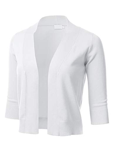 - Women's Classic 3/4 Sleeve Open Front Cropped Cardigan White XL