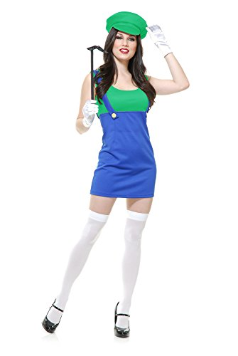 Charades Women's Patty The Plumber, Blue/Green, Small