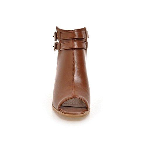 Abierta Encaje Para Shoes Zapatos Punta Fiesta Sandalias Brown Tacón Mujer Bloque De Con Negro Noche Hasta Hn PznXpqxBwB