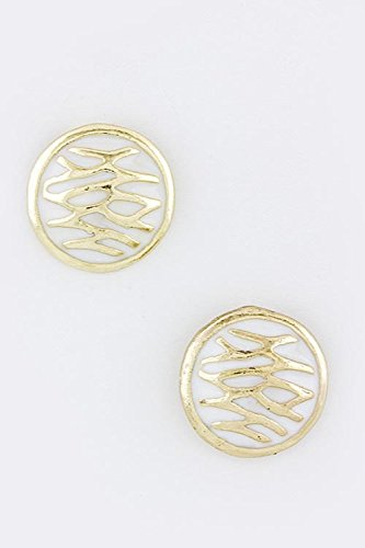 TRENDY FASHION JEWELRY CUT ROUND EARRINGS BY FASHION DESTINATION | (White) (Necklace Chain Trifari)
